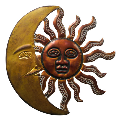 Celestial Sun and Moon Wall Décor In Metal, Gold and Rust Brown
