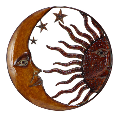 Celestial Metal Sun Star Moon Wall Hanging Décor, Bronze Gold and Rust Red