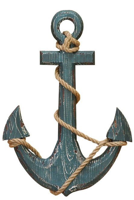 Nautical Distressed Wooden Anchor with Rope Décor, Blue