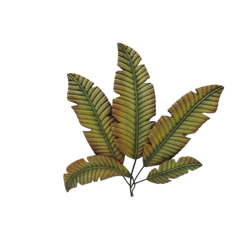 Palm Leaf Hanging Metal Wall Art Décor, Green and Brown