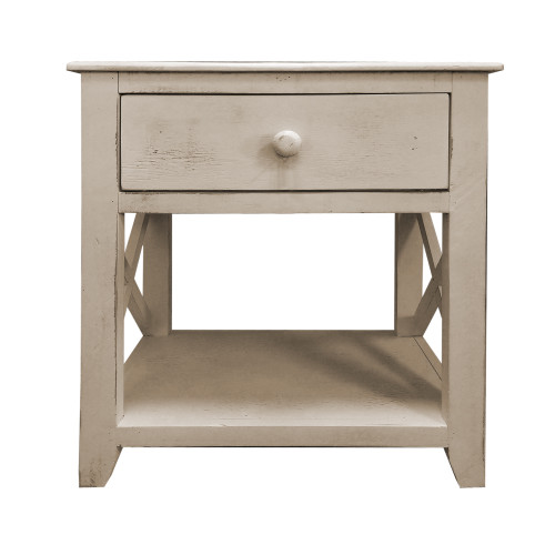 Dunawest 24 Inch Wooden 1 Drawer Sideend Table With Cross Sides And Open Bottom Shelf, White