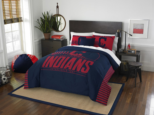 Cleveland Indians MLB Bedding Full/Queen Comforter and 2 Sham Set
