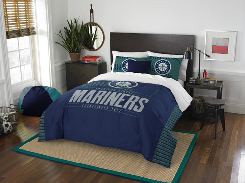 Seattle Mariners MLB Bedding Full/Queen Comforter and 2 Sham Set