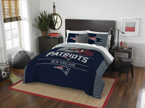 New England Patriots NFL Bedding Full/Queen Comforter and 2 Sham Set