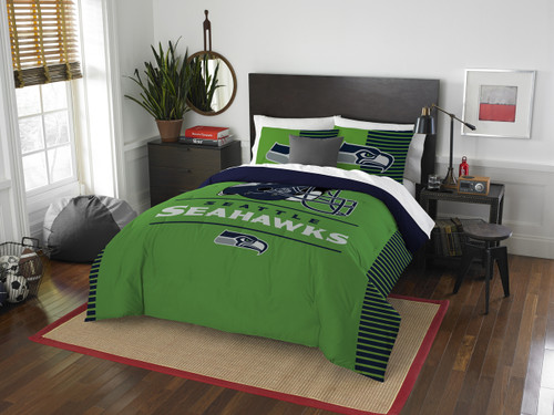 Seattle Seahawks NFL Bedding Full/Queen Comforter and 2 Sham Set