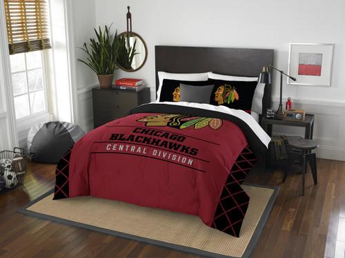 Chicago Blackhawks NHL Bedding Full/Queen Comforter and 2 Sham Set