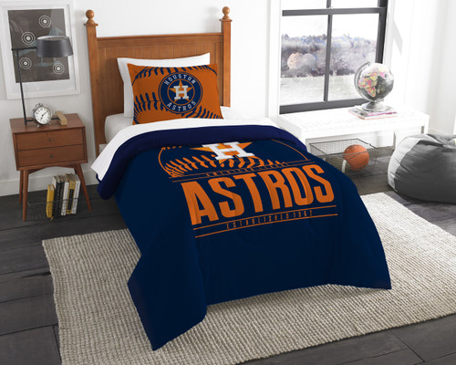 Houston Astros MLB Bedding Twin Comforter and Sham Set
