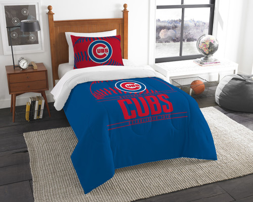 Chicago Cubs MLB Bedding Twin Comforter & Sham Set