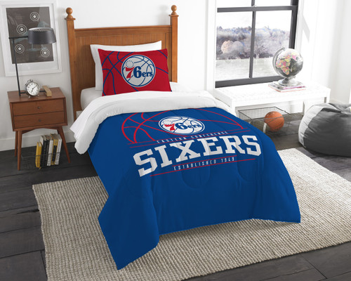 Philadelphia 76ers NBA Bedding Twin Comforter and Sham Set