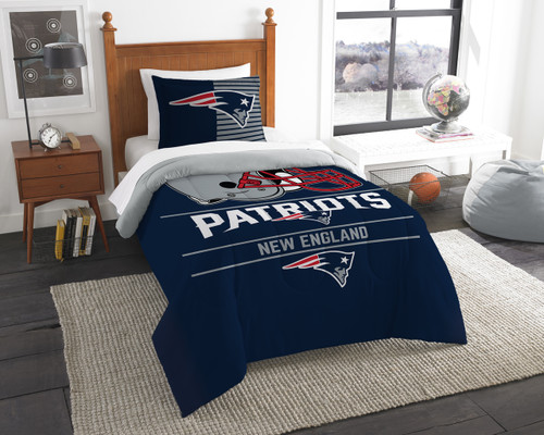 New England Patriots NFL Bedding Twin Comforter and Sham Set