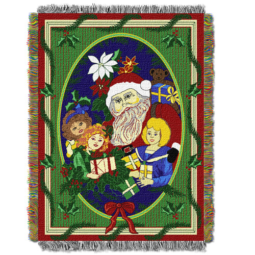 Blitzen Holiday Woven Tapestry Throw