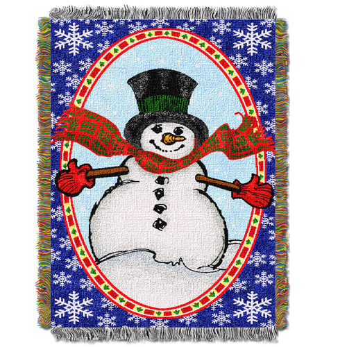 Bright Happy Snowman Holiday Woven Tapestry Throw