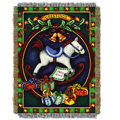 Holiday Hobby Horse Woven Tapestry Throw