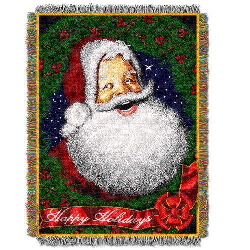 Howdy Santa Holiday Woven Tapestry Throw