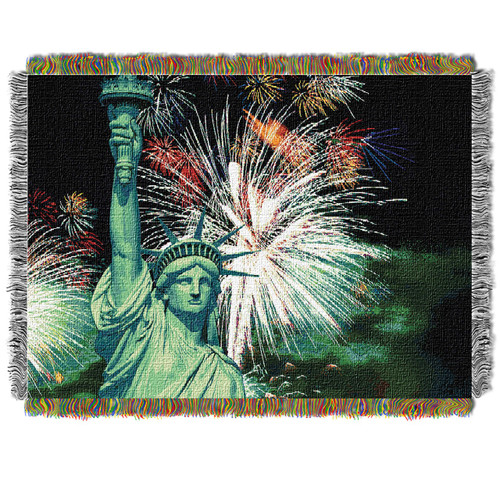 Lady Liberty Holiday Woven Tapestry Throw