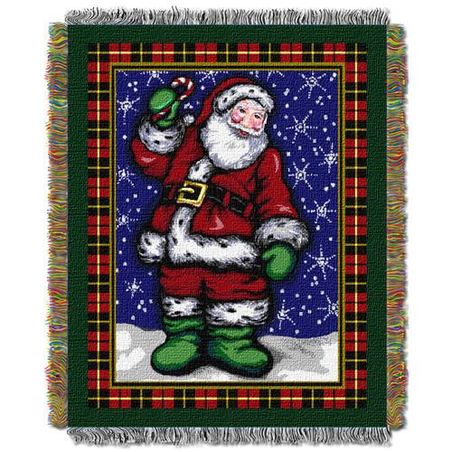 Plaid Santa Holiday Woven Tapestry Throw