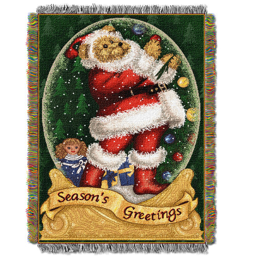 Snow Globe Teddy Holiday Woven Tapestry Throw