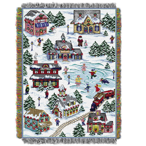 Snowy Village Holiday Woven Tapestry Throw