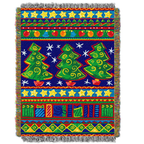 Tree Festivity Holiday Woven Tapestry Throw