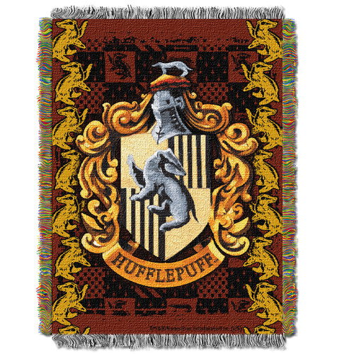 Harry Potter Hufflepuff Crest Woven Tapestry Throw
