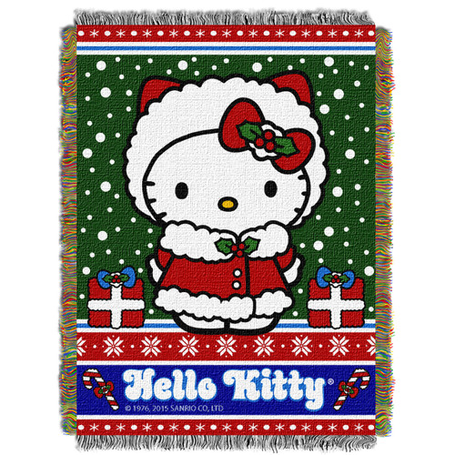 Hello Kitty Snowy Kitty Woven Tapestry Throw