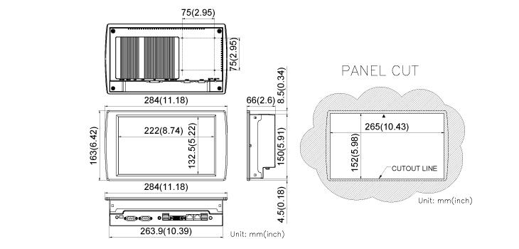 COMFILE CUPC CPCV5-102BR Dimensions
