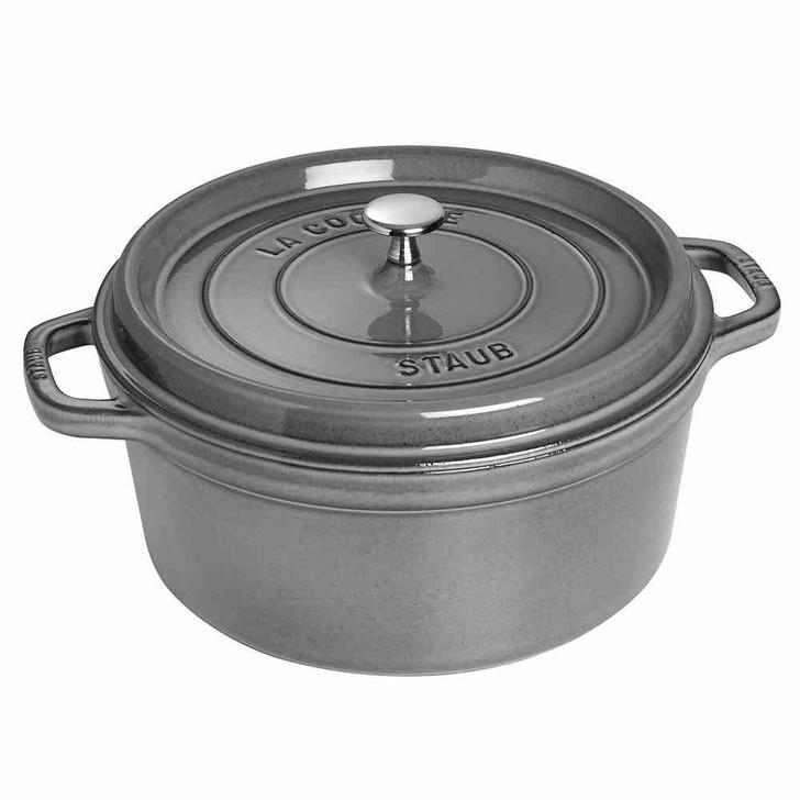 Staub 7-Quart Cast Iron Round Cocotte in Graphite Grey