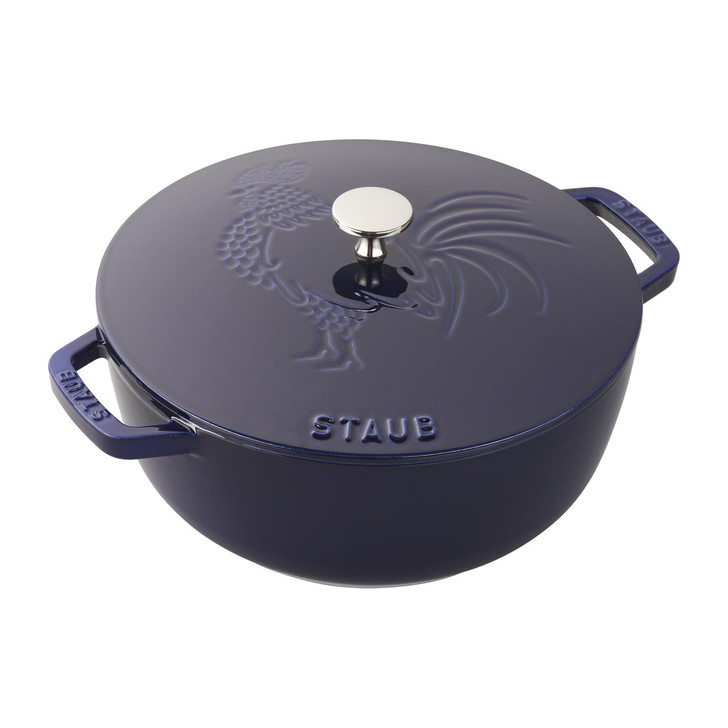 Staub Cast Iron Essential French Oven Rooster in Dark Blue