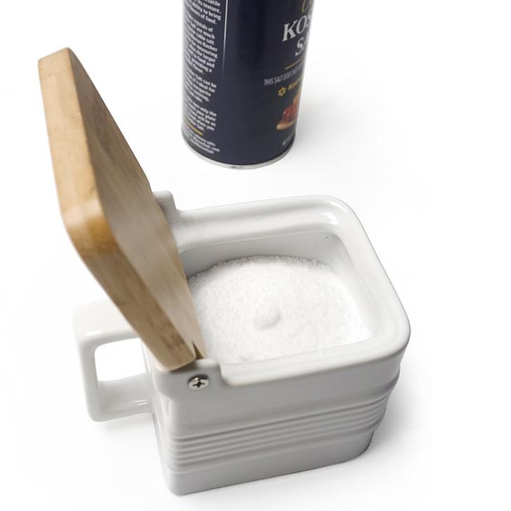 RSVP Endurance White Stoneware Salt Box