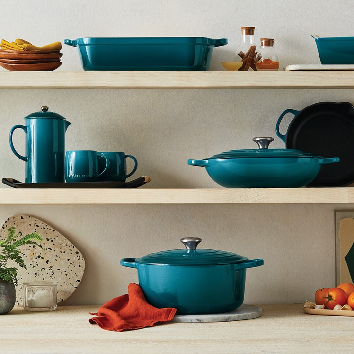 Le Creuset Cast Iron Oval Dutch Oven in Deep Teal