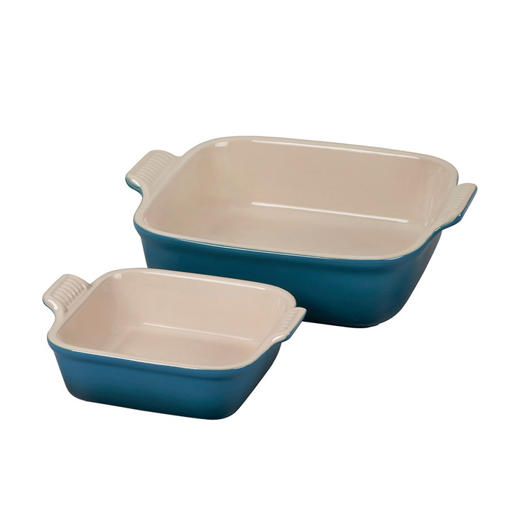 Le Creuset Heritage Square Baking Dish Set in Deep Teal
