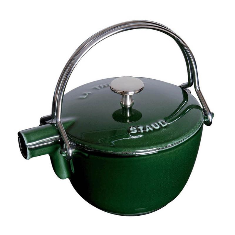 Staub Cast Iron Round Tea Kettle in Basil Green