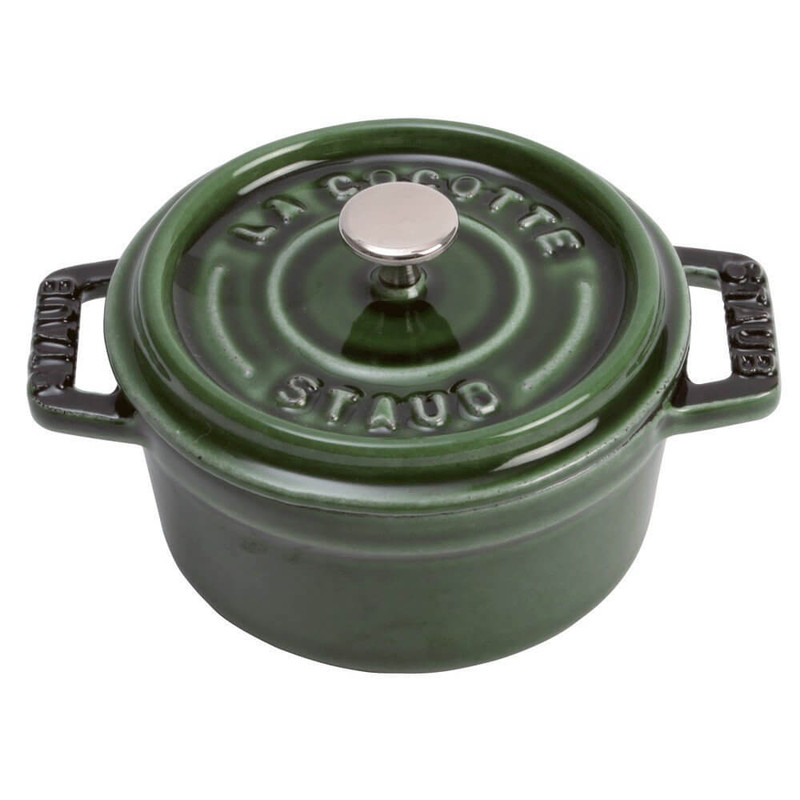Staub Cast Iron Mini Round Cocotte in Basil Green