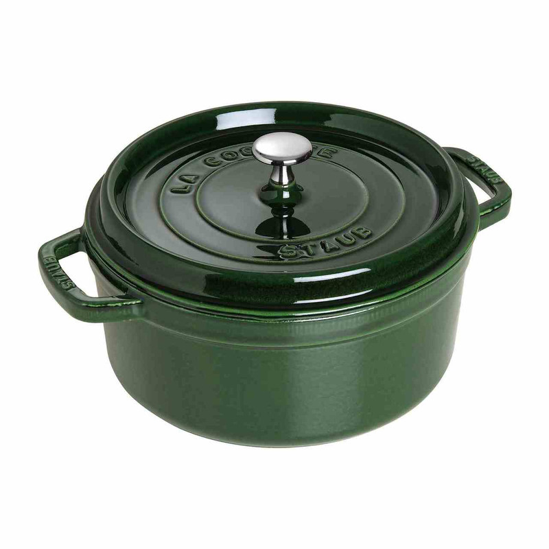 Staub 4-Quart Cast Iron Round Cocotte in Basil Green