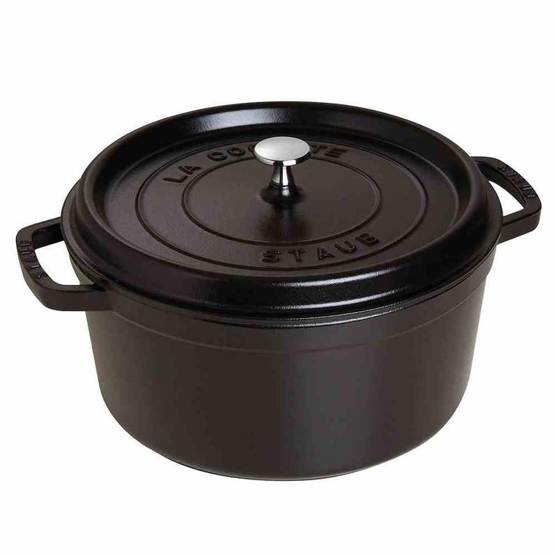 Staub 7-Quart Cast Iron Round Cocotte in Matte Black