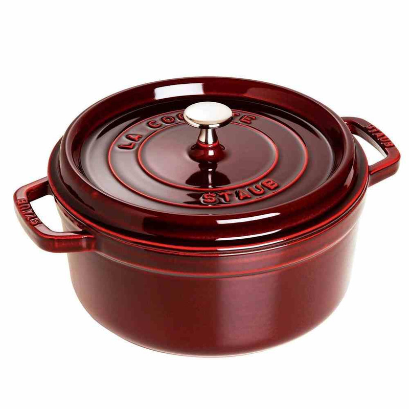 Staub 13.25-Quart Cast Iron Round Cocotte in Grenadine Red