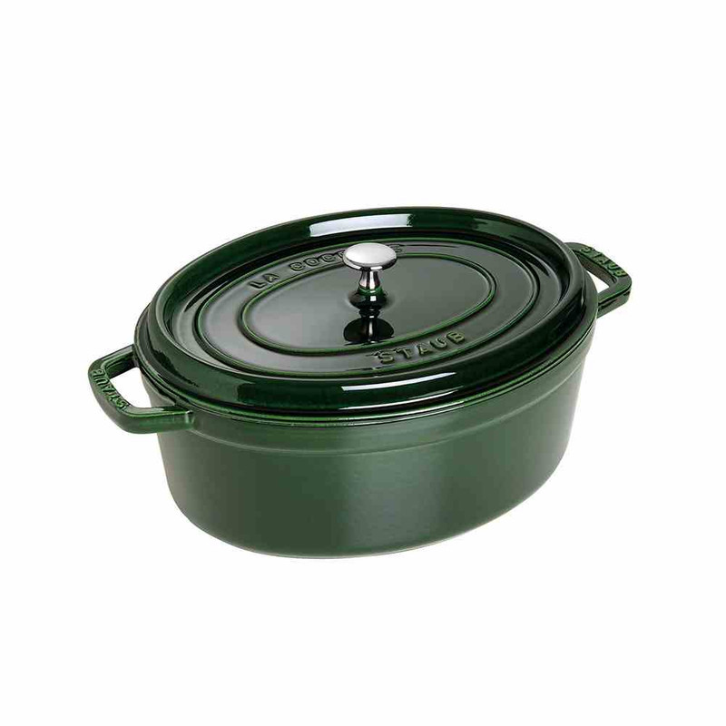 Staub 7-Quart Cast Iron Oval Cocotte in Basil Green