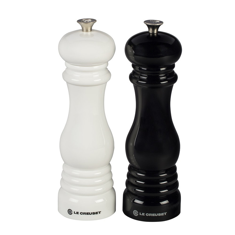 Le Creuset Salt and Pepper Mill Set in Black and White