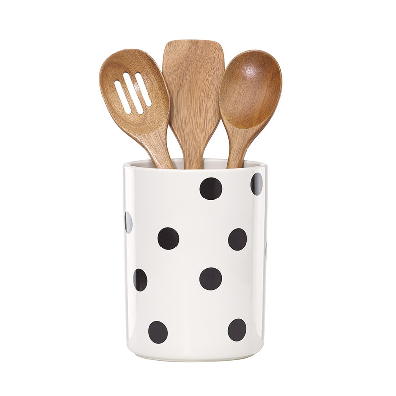 Kate Spade Deco Dot Crock and Utensils