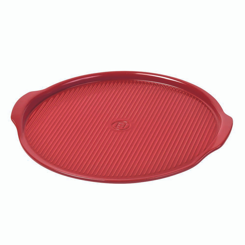 Emile Henry 14.5-Inch Ribbed Pizza Stone in Burgundy