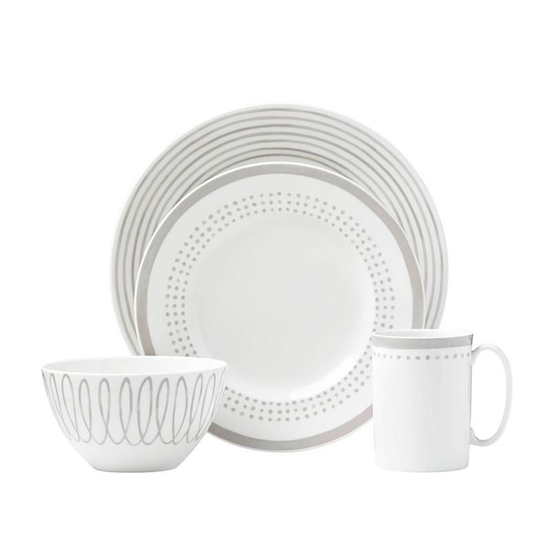 Kate Spade Charlotte Street East 4-Piece Place Setting in Grey