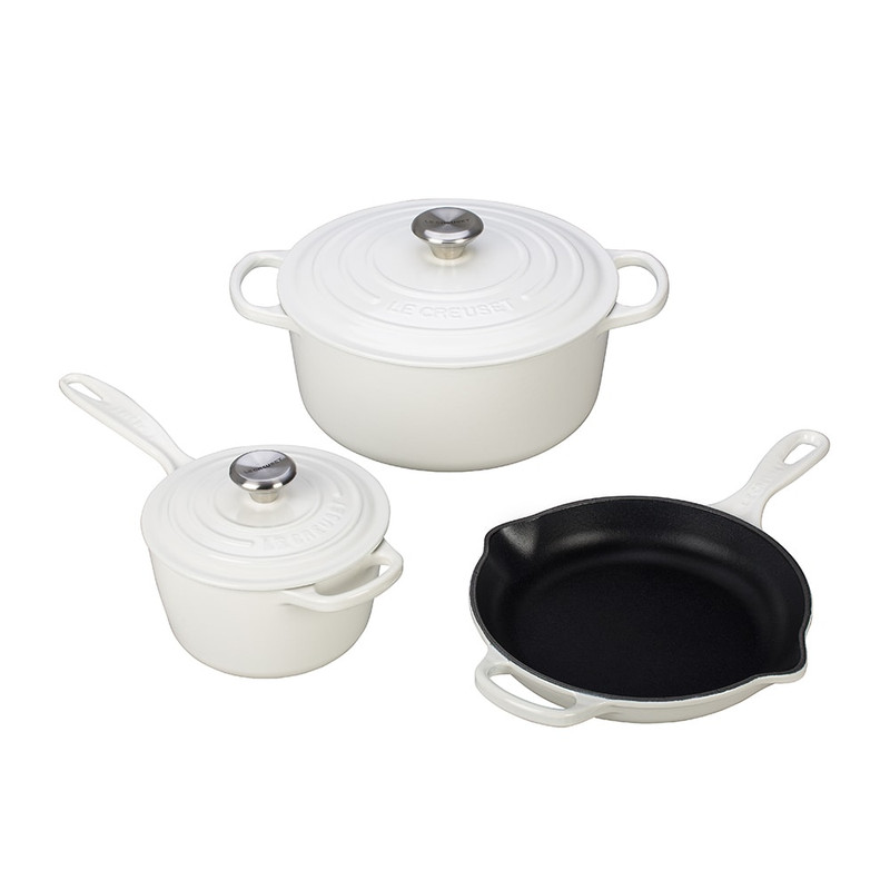 Le Creuset 5-Piece Signature Cast Iron Set in White