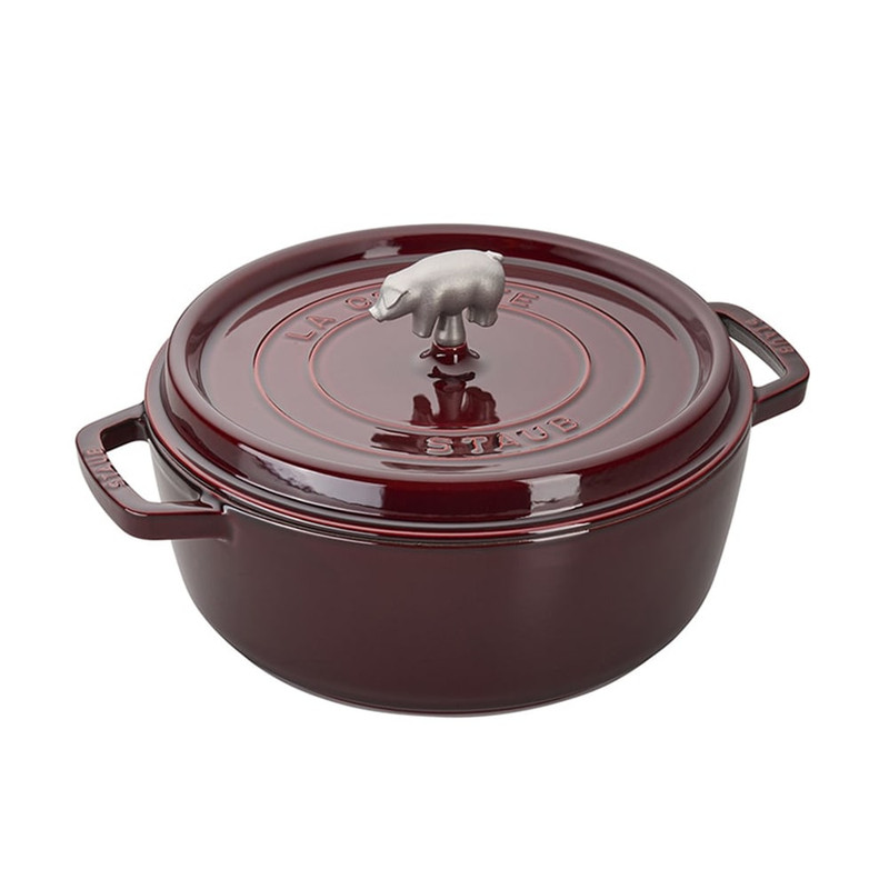 Staub Shallow Wide Round Cocotte in Grenadine With Cochon Knob