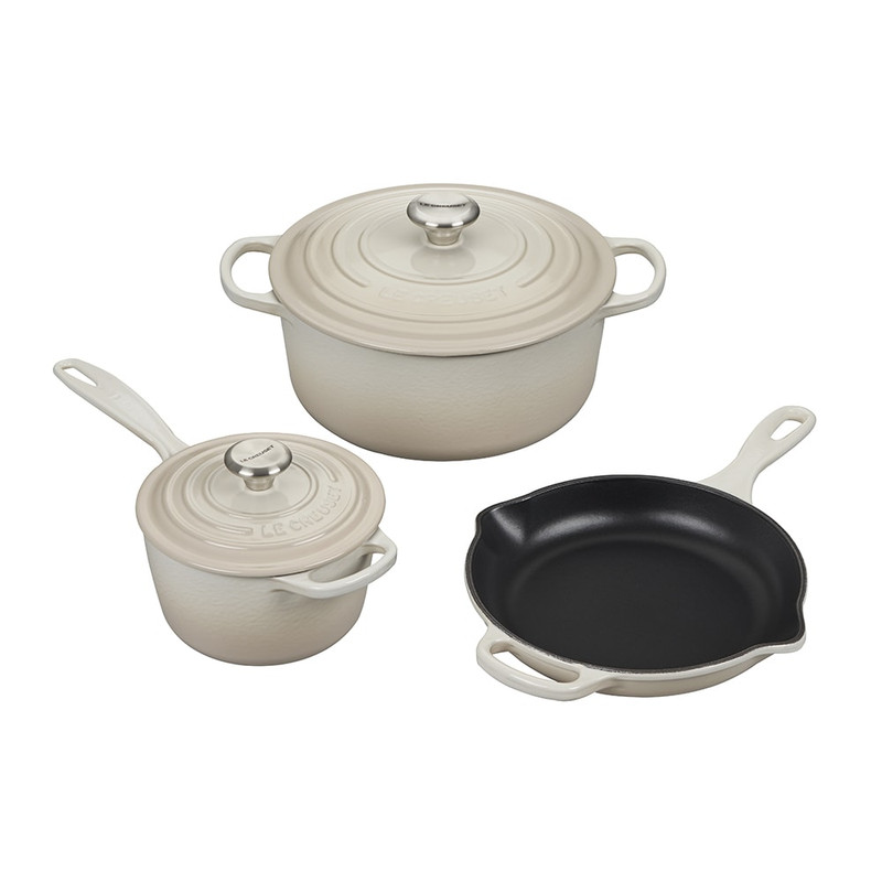 Le Creuset 5-Piece Signature Cast Iron Set in Meringue