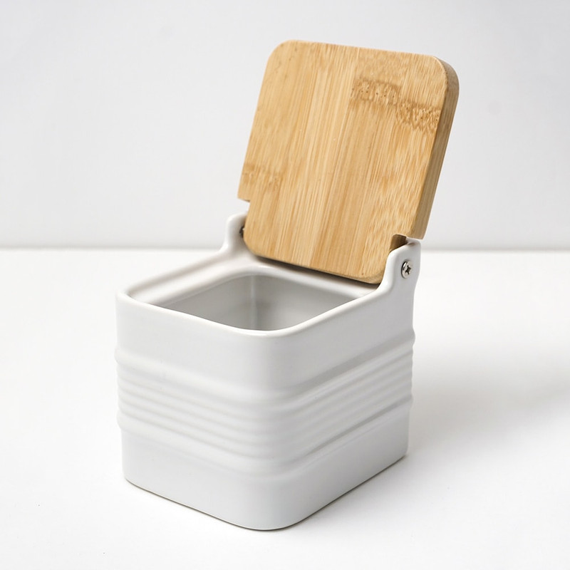 RSVP Endurance White Stoneware Salt Box