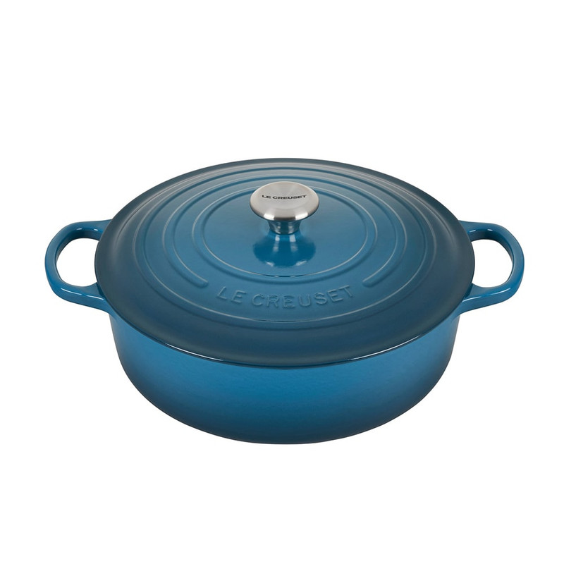 Le Creuset Cast Iron Round Wide Dutch Oven in Deep Teal