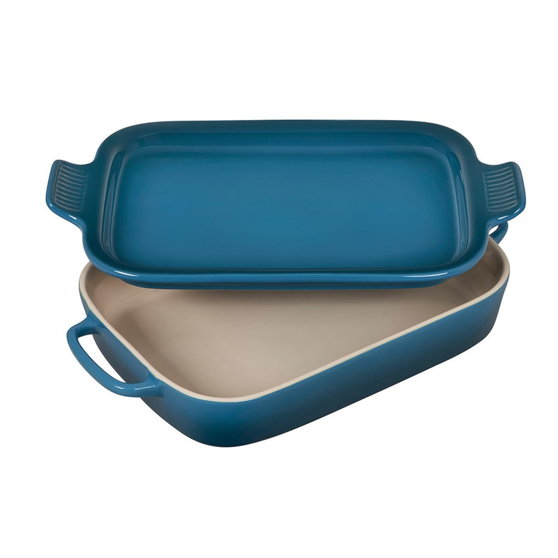 Le Creuset Rectangular Dish With Platter Lid in Deep Teal