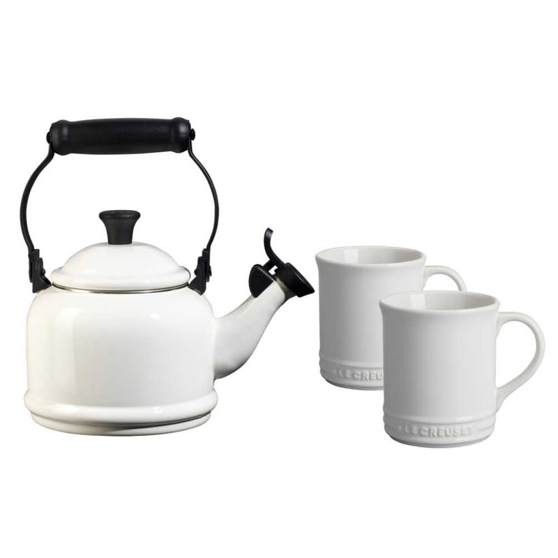 Le Creuset Demi Kettle and Mugs Set in White