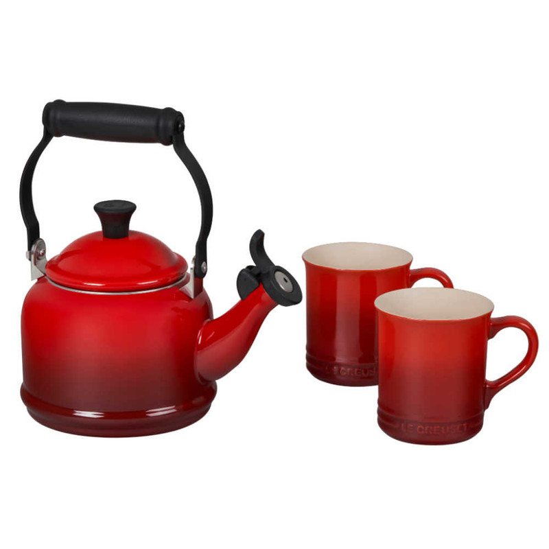 Le Creuset Demi Kettle and Mugs Set in Cerise