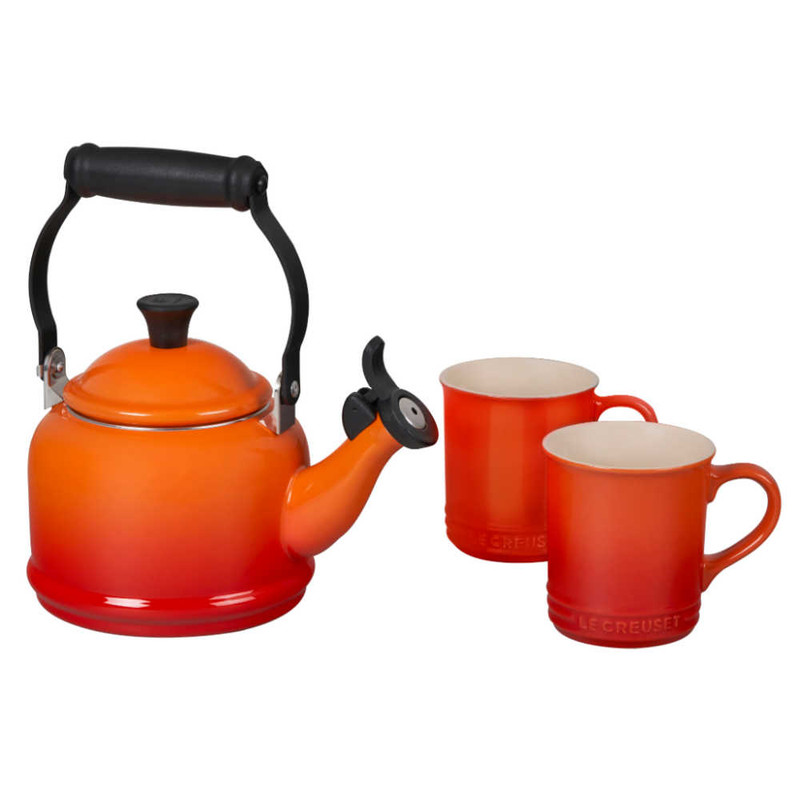 Le Creuset Demi Kettle and Mugs Set in Flame
